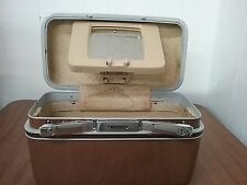 Vintage Samsonite Brown luggage suitcase makeup train case w/ adjustable mirror