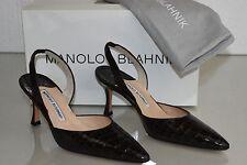 $5400 NEW Manolo  Blahnik CAROLYNE 70 Dark  Brown ALLIGATOR CROCODILE SHOES 36