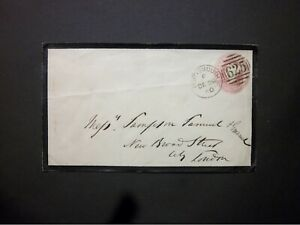 GB Hampshire Stationery STO 1860 QV 1d Mourning Envelope 625 PORTSMOUTH Duplex