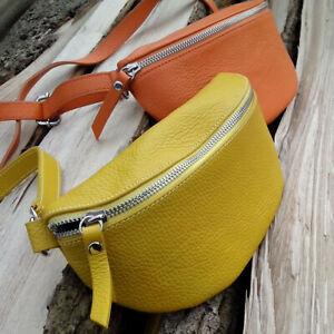 LEDER Tasche mit Riemen Cross Over Body Bag Blogger Fashion Gürtel Senfgelb