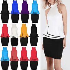 Womens Slim Fit Party Contrast Bodycon Ladies Peplum Frill Mini Dress Plus Size