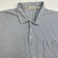 Free Territories Polo Shirt Men's Size 2XL XXL Short Sleeve Blue White Striped