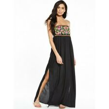 BNWT V By Very Black Floral Embroidered Sleeveless Maxi Dress UK 10