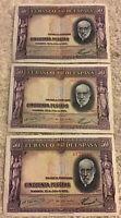 Lot Of 3 X Spain Banknotes. 50 Pesetas. Dated 1935. Vintage Set.