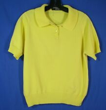 GIVENCHY SPORT Vintage YELLOW POLO COLLAR Smooth Sweater Knit Top SHORT/SLV 38