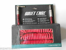 BULLET STUDIO/LIVE PRO NOISELESS RED 30FT COILED GUITAR CABLE STR/ANGLE PLUGS