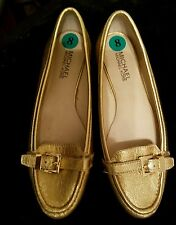 Michael Kors Gold Leather Loafer Moccasin Shoes 8 may fit 7.5 Rory Buckle Flats