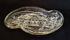 American Brilliant Period Cut Clear Glass S Shaped Relish Tray