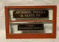 ATCHISON TOPEKA  & SANTA FE RAILROAD TELEGRAPH OFFICE TICKET ANTIQUE WINDOW