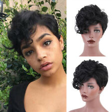 Synthetic Pixie Cut Wig Short Curly Black Hair for Women Heat Resistant Wig