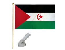 New listing 5' Wooden Flag Pole Kit W/ Nylon White Bracket 3x5 Western Sahara Polyester Flag