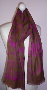 Brown Fuchsia Pink Cotton Blend Abstract Print Long Scarf Fairtrade Handmade