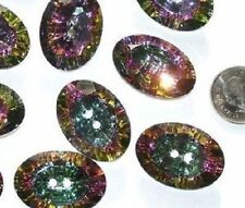 """WOW Set 10 RAINBOW Vintage New RHINESTONE Oval Buttons XL Large 1 & 3/8"""""""