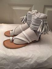JEFFREY CAMPBELL Glady White Leather Fringed Flat Sandals 8 M