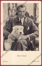 GARY COOPER 20 ATTORE ACTOR ACTEUR CINEMA MOVIE - CANE DOG - PIPA PIPE Cartolina