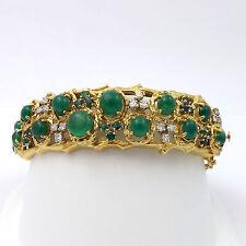 VINTAGE 18K GOLD SIGNED JACK GUTSCHNEIDER  12ct  EMERALD DIAMOND BANGLE BRACELET