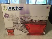 Anchor Hocking Savannah Clear Glass Punch Bowl Set 17 piece Made USA