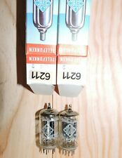 Rare close matched pair 6211 Telefunken    ribbed plate o getter audio test NOS