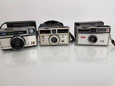 3 x Vintage Kodak Instamatic Cameras + Cases; Instamatic 204, 100 & 277X Cameras