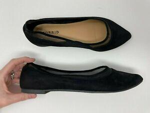 Torrid 9W Ballet Flats Black Poiny Toe Slip On Shoes Womens N3