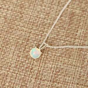 Ethiopian Welo Opal 6mm Round 925 Sterling Silver Pendant Necklace layering