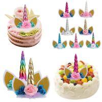 Licorne Gâteau Toppe Licorne Cupcake Décor Fête D'anniversaire Topper Horn Fleur