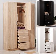 Triple 3 Door 3 Drawer Wardrobes Modern Furniture Bedroom in Black White UK FAST