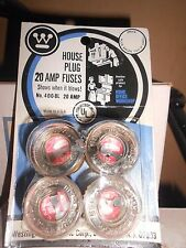 NEW 20A HOUSEHOLD Screw Plug WESTINGHOUSE Fuse 125V Carded BOX LOT 40 W-20 T-20