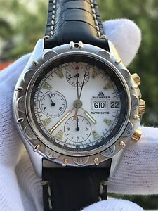 BUCHERER CHRONOGRAPH AUTOMATIC LEMANIA 5100 REF.4.029.0.0.80 MENS 40mm SWISS