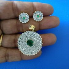 Green Emerald CZ AD Indian Bollywood Floral Gold plated Pendant Earrings Set
