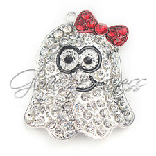 39.4x49.3mm Ghost With Bowknot  Rhinestone Charm Pendant Bubblegum Necklace