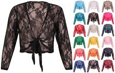 Womens Long Sleeves Ladies Floral Lace Bolero Crop Cardigan Shrug Top Plus Size