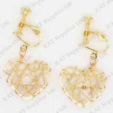 CLIP ON Earrings Gold Non Pierced Ear Studs Womens Jewellery Fashion Round #92