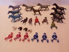 Vintage 1950s Multicolored Hard Plastic Cowboys Horses & Some Saddles Bergen