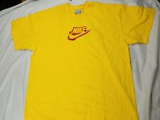 VINTAGE Nike FLEECE SPELLOUT SWOOSH Short Sleeve Shirt Yellow Spell Out 90s