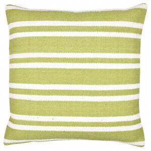 "Cotton Cushion Cover Kilim Handmade 18"" x 18"" Decorative Green Stipe Sofa Pillow"
