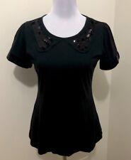 Ladies WITCHERY Black Sequin Design Top. Size M. EUC