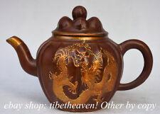 "7.8"" Marked Old Chinese Yixing Zisha Pottery Carving Dragon Teakettle Tea Pot"