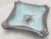 Vintage National Potteries Company Cleveland Ashtray Brown Blue Glaze Napco