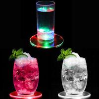 2x LED Untersetzer PS Transparent Dauerhaft Dekoration Party Restaurant Bar DE