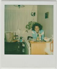 Vintage 70s Polaroid PHOTO Young Black Woman In Her Dining Area