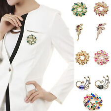 Women's Vintage Flower Brooches Pins Wedding Rhinestone Alloy Crystal Jewelry