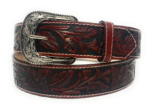 """1 3/4"""" WIDE WESTERN LEATHER BELT. COWBOY RODEO CASUAL LEATHER FLORAL EMBOSSED"""