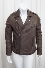 BALMAIN Mens Taupe Leather Lambskin Long-Sleeve Motorcycle Zip Jacket Coat 52/42