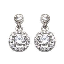 Earrings Diamond Unique Drop Halo Sterling Silver Rhodium Platinum