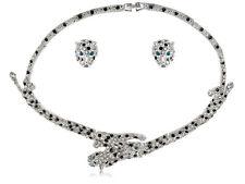 Zoo Leopardo Doble Cabeza Pantera puntos Diamantes de Imitación de Cristal Collar Pendiente Conjunto