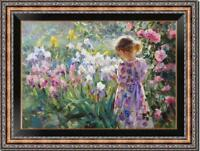 Hand-painted Original Oil painting art Impressionism girl Flower on Canvas