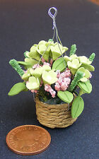 1:12 Scale Hanging Basket With Green & Pink Flowers Tumdee Dolls House D1632