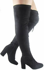 LADIES WOMEN LACEUP LOW SMALL HEEL CHUNKY BLOCK LACE UP THIGH SUEDE BOOT SIZE3-8