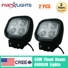 A Pair 40W LED Work Light Flood Beam Square 5'' 4000LM Offroad Truck UTE Chevy